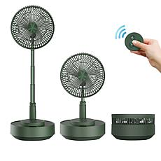 """Geek Aire 10"""" Rechargeable Oscillating Foldable Stand Fan with Remote"""