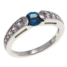 Gem RoManse by Robert Manse 0.86ctw London Blue Topaz and Zircon Ring