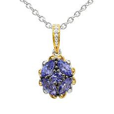 """Gems by Michael 18K Goldtone Tanzanite Cluster Pendant with 18"""" Chain"""