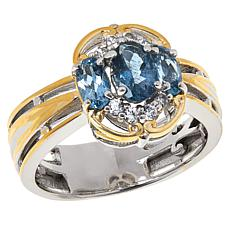 Gems by Michael Aquamarine and Zircon Three-Stone Ring