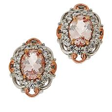 Gems by Michael Pink Morganite and White Zircon Oval Earrings