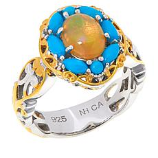 Gems by Michael Sleeping Beauty Turquoise and Opal Oval Ring