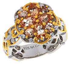 Gems by Michael Sterling Silver Imperial Topaz Cluster Floral Ring