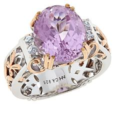 Gems by Michael Sterling Silver Kunzite and White Zircon Ring