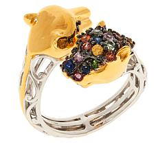 Gems by Michael Sterling Silver Multigemstone Panther Bypass Ring