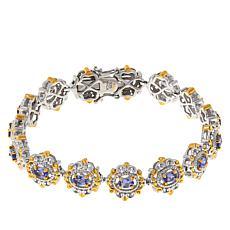 Gems By Michael Sterling Silver Tanzanite Station Line Bracelet