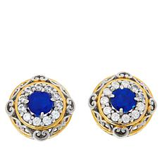 Gems by Michael Valitutti Blue Spinel and Clear Zircon Stud Earrings
