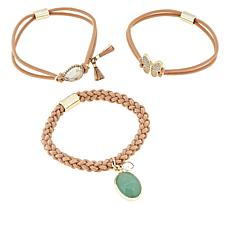 "Gemtye ""Butterfly"" 3-piece Beige Bracelets/Hair Ties"