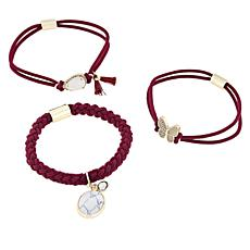 "Gemtye ""Butterfly"" 3-piece Wine Bracelets/Hair Ties"