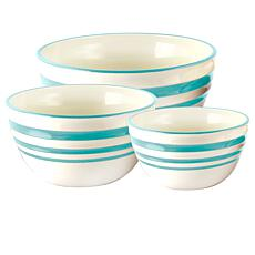 General Store Hollydale Nesting Bowl Set in Linen and Teal Banded S...
