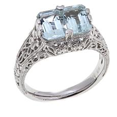 Generations® 1912 1.36ctw 2-Stone Aquamarine Love Ring
