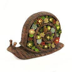 """Gerson 16.6"""" Solar Lighted Resin Garden Snail with Succulent Details"""