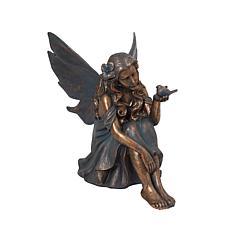"Gerson 25.4"" Verdigris and Gold Fairy Figurine"