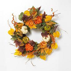 "Gerson 26"" Diameter Harvest Wreath with Pumpkin & Berry Accents"
