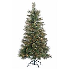 Gerson 4.5' Lighted Mixed Needle Pine Tree with Glitter