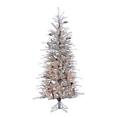 Gerson 6' Lighted Sage Frosted Hard Needle Slim Tree