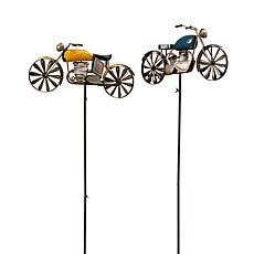 Gerson Antique-Style Metal Motorcycle Wind Spinners 2-pack
