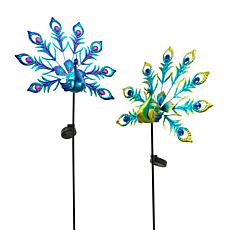 Gerson Assorted Metal and Glass Solar Peacock Yard Stakes 2-pack