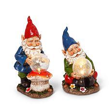 "Gerson Company 13.8""H Solar Gnome Figurines w Crackle Glass Balls 2-pk"