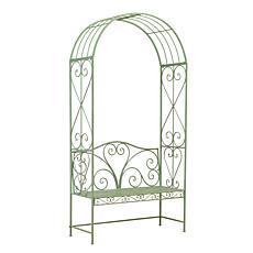 "Gerson Company 90.5""H Antique Green Metal Arch with Bench"