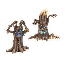 Gerson Company Battery-Operated Lighted Haunted Tree Figurines 2-pack