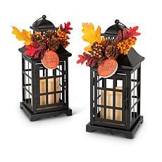 Gerson Company Metal Lanterns with B/O LED Candles, Floral Accents 2pk