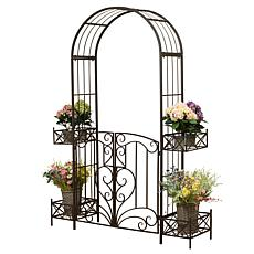 Gerson Metal Garden Arch Gate with Movable Planters