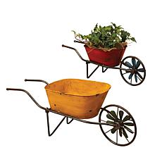 Gerson Set of 2 Assorted Antique-Style Metal Wheelbarrow Planters