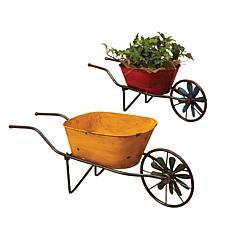 Gerson Set of 2 Assorted Antique-Style Metal Wheelbarrow Planters