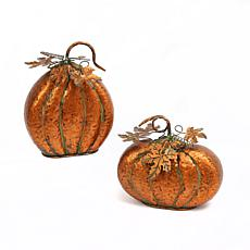 Gerson Set of 2 Metal Harvest Tabletop Pumpkins with Leaf Accents