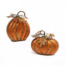 Gerson Set of 2 Metal Harvest Tabletop Pumpkins with Leaf Accents