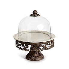GG Collection Glass Domed Cake Pedestal w/ Brown Metal Base & Plate