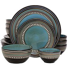 Gibson Elite Café Versailles 16-piece Double Bowl Dinnerware Set-Blue