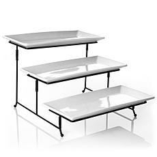 Gibson Elite Gracious Dining 3-Tier Plate Set with Metal Stand
