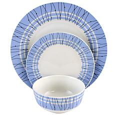 Gibson Home Geometric Fine Ceramic 12-piece Dinnerware Set in Blue