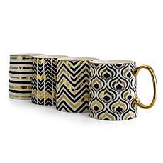 Gibson Home Gold Geo Ceramic 14.8 oz. Mug 4Pc Set, Assorted Designs