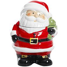 "Gibson Home Holiday Cheer 7.5"" Santa Hand-Painted Cookie Jar"