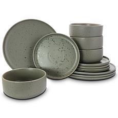Gibson Home Open Range 12-piece Dinnerware Set in Matte Grey