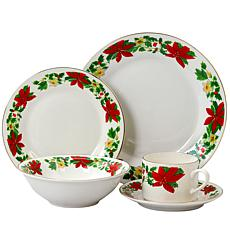 Gibson Home Poinsettia Holiday 20-Piece Dinnerware Set , Decorated Rim