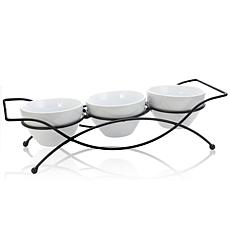 Gibson Home Splendid Grace 4pc Serving Set with Metal Rack in White