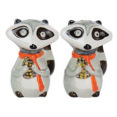 Gibson Home Woodland Raccoon 2-Pc Hard Dolomite Salt and Pepper Set