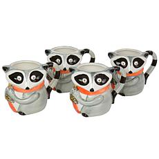Gibson Home Woodland Raccoon 4-Pc 15 oz. Durastone Cup Set