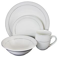 Gibson Platinum Moon 16 pc Dinnerware Set, Platinum Banded in White