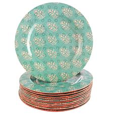 Gibson Solina 9 inch Dessert Plate Aqua Decorated Melamine