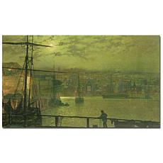 Giclee Print - A View of Whitby Harbor at Moonlight
