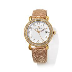 Giorgio Milano Crystal Bezel Leather Strap Watch