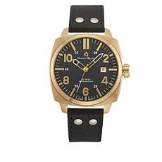 Giorgio Milano Goldtone Black Leather Strap Watch