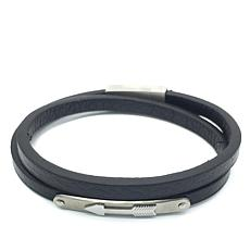 Giorgio Milano Men's Arrow Black Leather Wrap Bracelet
