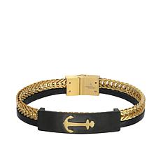 Giorgio Milano Men's Black and Goldtone Anchor Bracelet