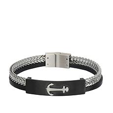 Giorgio Milano Men's Black and Silvertone Anchor Bracelet